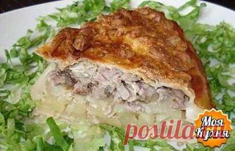 КУБЕТЕ (пирог из слоенного теста с грибами и курицей).