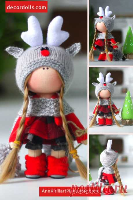 Winter Deer Doll Christmas Art Baby Doll Handmade Tilda | Etsy