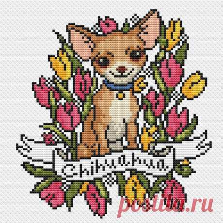 Dog cross stitch pattern tattoo PDF/ Chihuahua tulip | Etsy