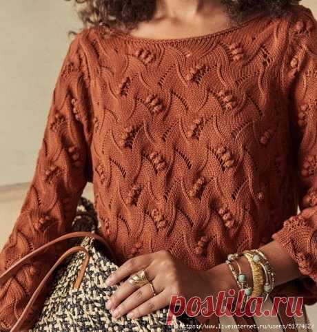 Заманчивый узор спицами для пуловера