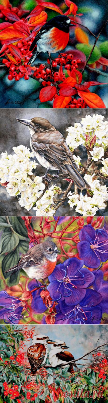 Птицы в живописи Heidi Willis