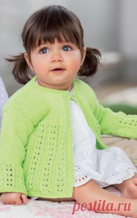 Вязание спицами детский жакет для девочки