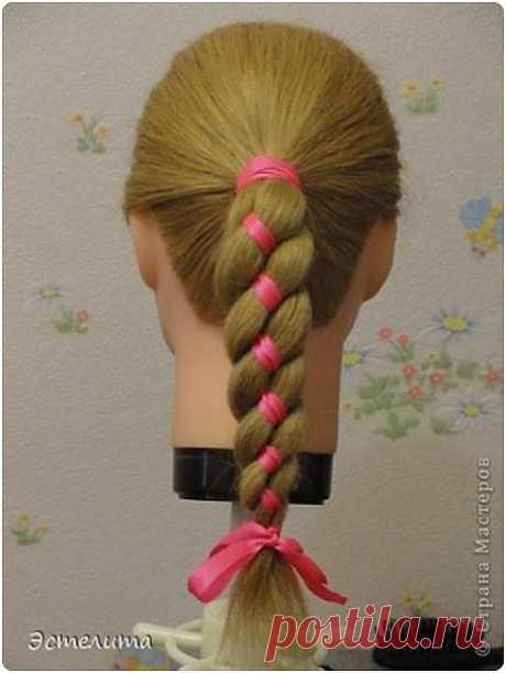 коса 4 пряди с лентой