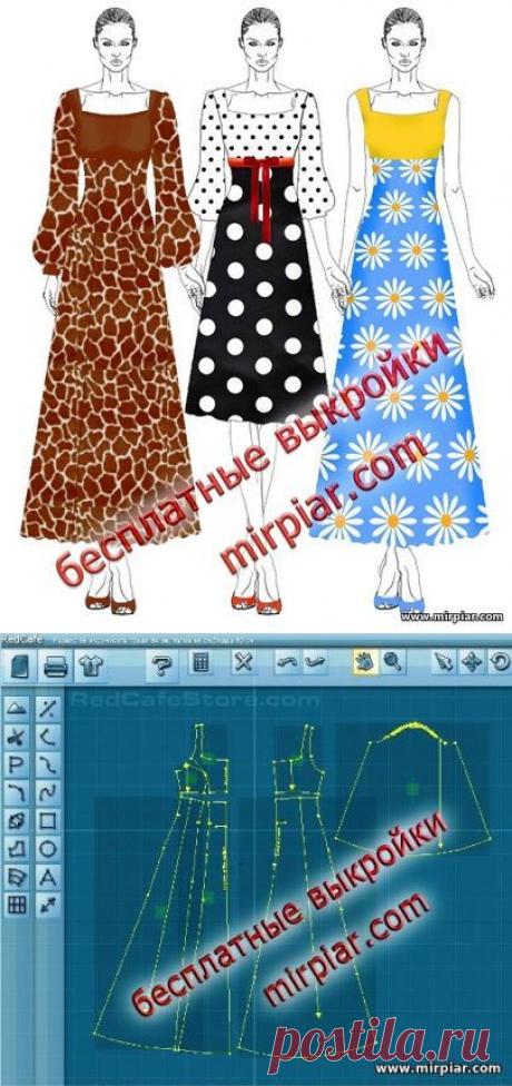 Модное платье с квадратным вырезом и пышным рукавом в трех вариантах Готовые бесплатные выкройки в натуральную величину Размеры (европейские) 36, 40, 44 модные платья, квадратный вырез, платье корсаж, платья, free pattern, выкройка платья, бесплатные выкройки, pattern sewing, Dress, шитье, выкройки, шитье