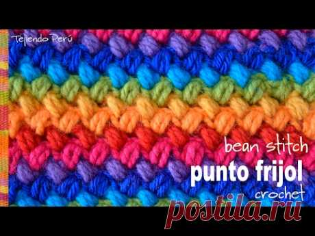 Punto frijol tejido a crochet: bello y reversible! \/ Crochet bean stitch! - Tejiendo Perú