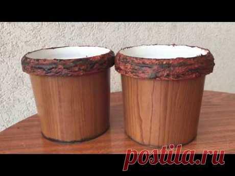 295. Цветочные горшки из майонезного ведерка. Flower pots with own hands