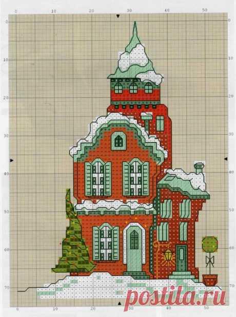 Зимние домики: 29 схем для вышивки крестом