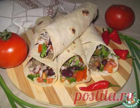 Лаваш с мясом, рисом, фасолью и помидорами – кулинарный рецепт