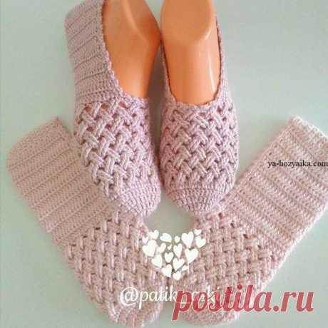 Beautiful slippers hook. Master class of http:\/\/ya-hozyaika.com\/vyazanie-dlya-doma\/tapochki-ob.