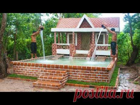 Buildding Amazing Pretty Brick Swimming Pool And Modern Two Story House Villa Design In Forest
