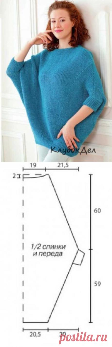 Бирюзовая туника-пончо спицами. Вязание для женщин туники, выкройка и описание