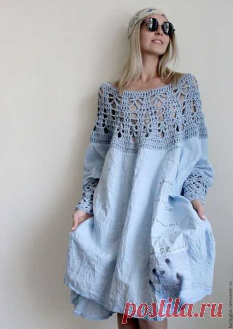 """Платья ручной работы. Платье из тонкого льна """"Стефания"""". Boho love. Ярмарка Мастеров. Бохо, льняное платье, небесно-голубой"""