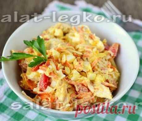 Салат из корейской морковки и курицы и болгарского перца