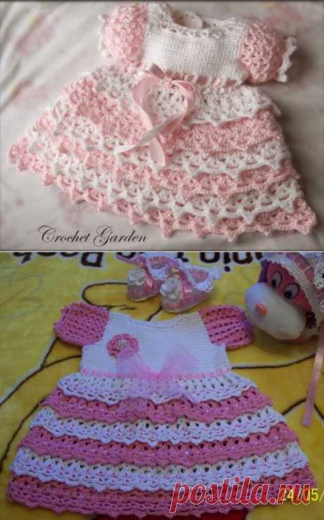 Платье крючком для малышки,описание на 1 и на 2 годика..