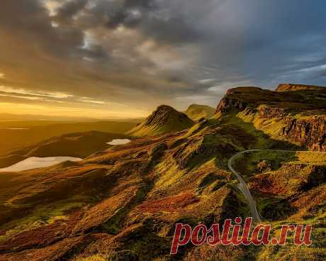 Картинки шотландия, природа, пейзаж, холмы, водоёмы, тучи, дорога - обои 1280x1024, картинка №354068