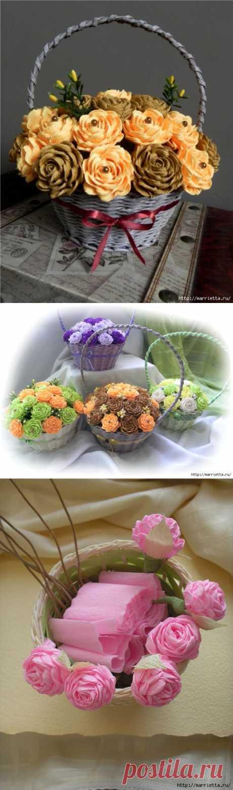 Замысловатые цветы из гофрированной бумаги) Видео мастер-класс.