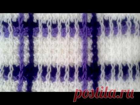 Узоры крючком: шотландская клетка / Crochet patterns: Scottish cell Видеоурок по вязанию крючком. Как связать клетчатый узор крючком. Шотландская клетка крюч...