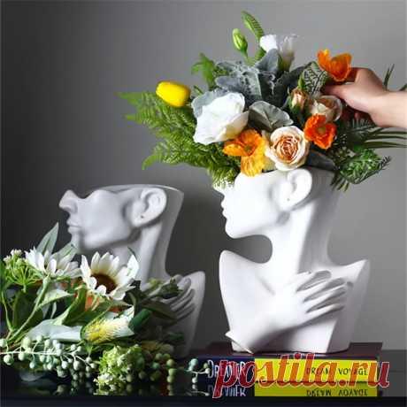 Современная креативная портретная ваза в скандинавском стиле, цветочные вазы с человеческой головой, декоративные украшения, домашние цветы из смолы, художественный Декор Цветочные горшки и кадки    АлиЭкспресс