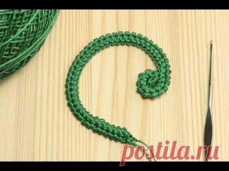 Вязание ПРАВОГО ЗАВИТКА на шнуре гусеничка - крючок для начинающих  Education crochet
