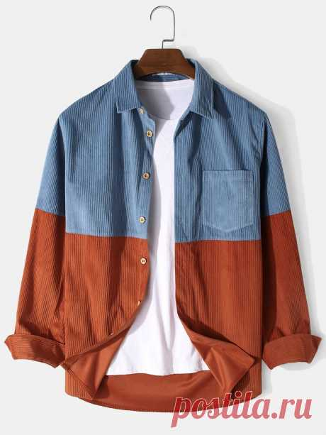 Banggood Design Mens Corduroy Patchwork Solid Color Button Up Long Sleeve Cargo - US$22.99