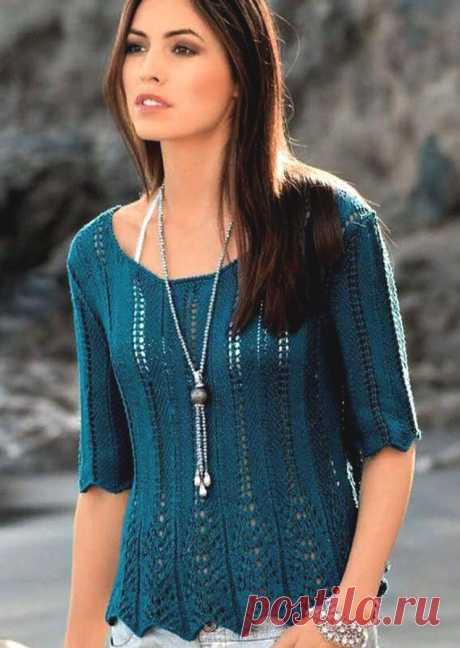 Пуловер с баской и ажурными полосами (Вязание спицами) – Журнал Вдохновение Рукодельницы