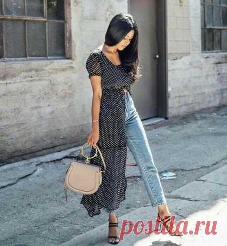 Джинсы и платье: смелые образы. — Модно / Nemodno
