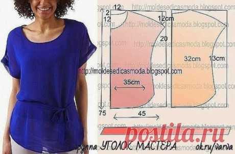 В копилку любителей шитья. Простые летние блузки. Подборка идей + выкройки.