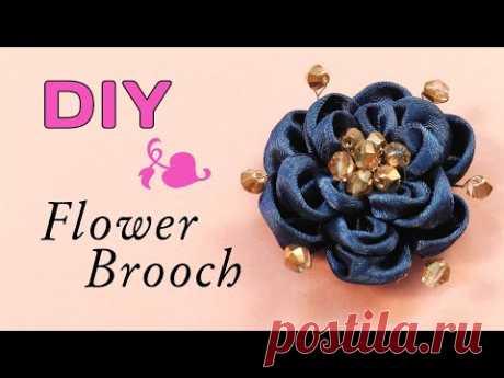 Видео мастер-класс: Как сделать Красивый цветок из ленты для броши - YouTube