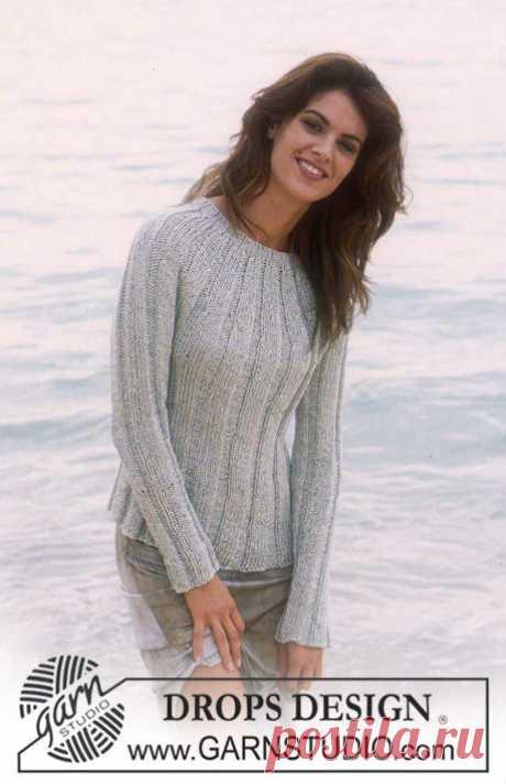 Пуловер с круглой кокеткой в крупную резинку
