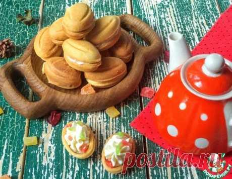 """Печенье """"Орешки"""" с творожным кремом и цукатами – кулинарный рецепт"""