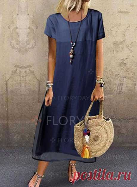 Casual Color Block Tunic Round Neckline Shift Dress - Floryday