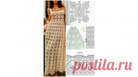 Платья крючком и спицами со схемами | Вязание | Яндекс Дзен