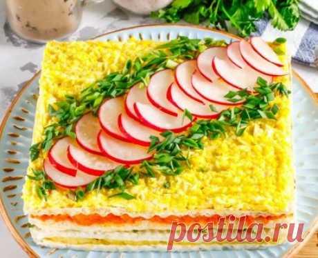 La torta de arenque en de barquillos korzhah