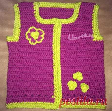 Вязаная жилетка для девочки - Описание вязания, схемы вязания крючком и спицами | Узорчик.ру