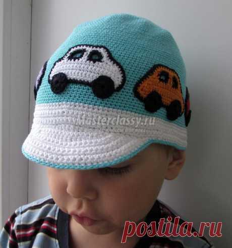 Вязаная летняя кепка для мальчика. Главная дорога. Мастер-класс