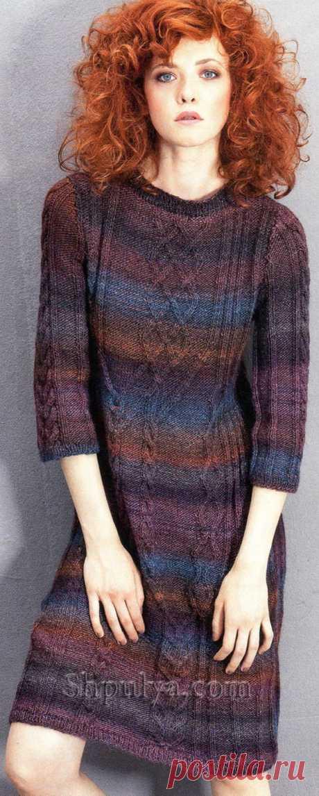 Платье с ирландскими узорами, вязаное спицами - SHPULYA.com