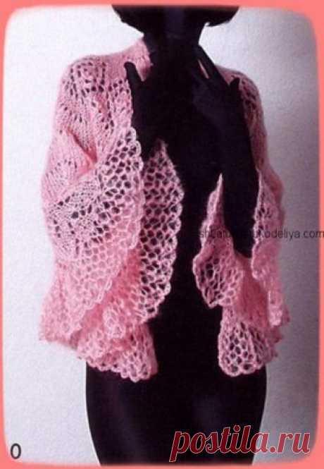 Шаль спицами «Веер» Розовая ажурная шаль из ангоровой пряжи. Схема и описание шали спицами