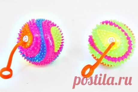Купить Мяч Ежик на резинке/d-6,5 /свет, звук/Z0308/блок 24 шт. арт.Z0308