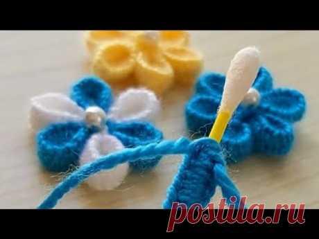Super Easy Woolen Flower with Cotton buds - 5 dakika da Yapılacak Bu Çiçekleri Cok Seveceksiniz