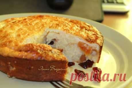 Rice baked pudding with dried fruits by a breakfast