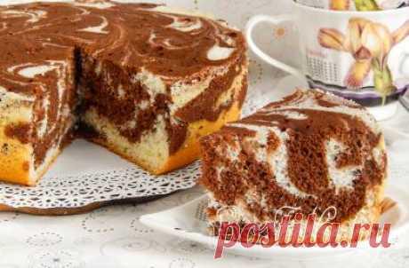 Мраморный бисквит в мультиварке - рецепт с фото