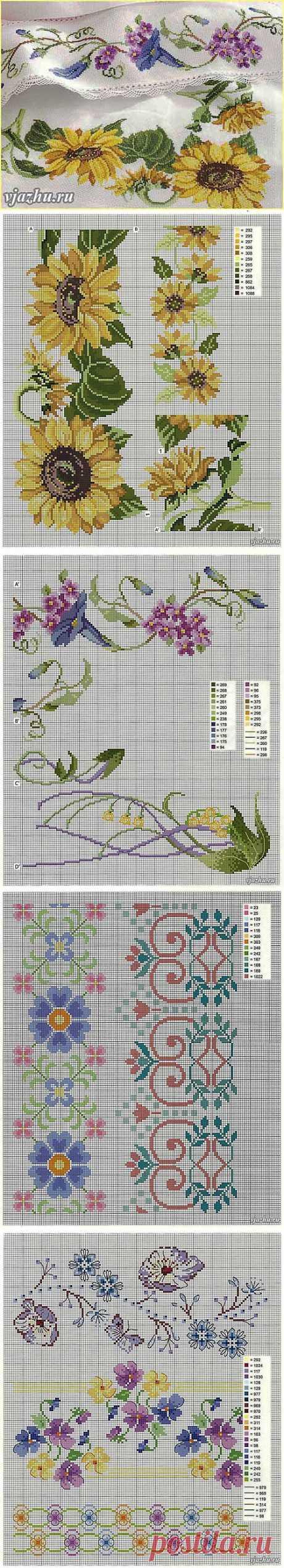 Вязание и вышивка, рукоделие - Волшебные палочки - Статьи: Вышивка бордюров крестом - схемы цветочных узоров