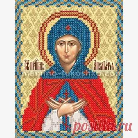 Схема вышивки крестиком бисером  иконы преподобной Аполлинария