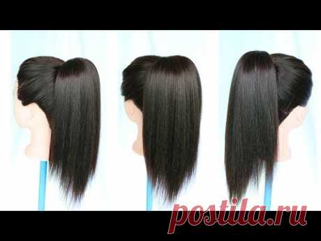 1 minute high ponytail trick | ponytail | ponytail hairstyles | ponytail extension | easy hairstyles