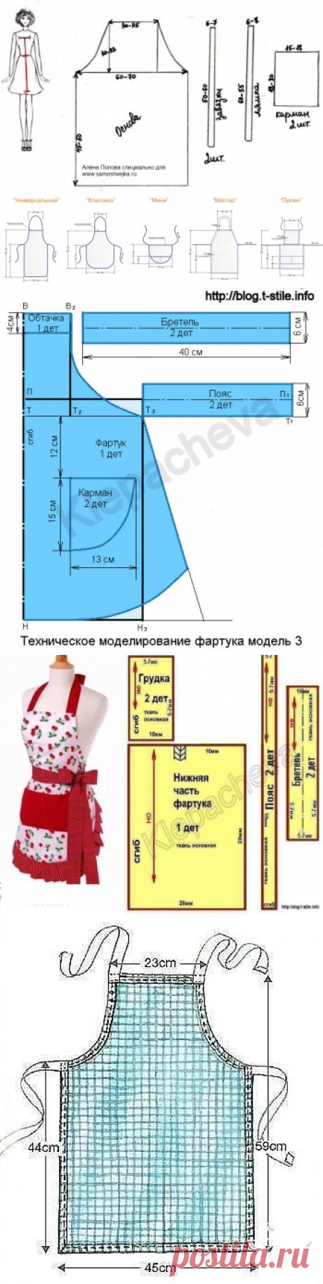 Идеи и выкройки фартуков для кухни