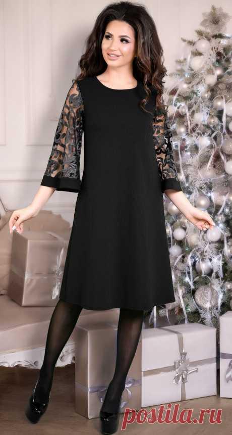 Нарядное расклешенное платье с красивыми рукавами черное - Платье норма 42-48 - Модные вечерние платья: купить недорого у производителя в розницу, доставка по Украине | Lemanta.com
