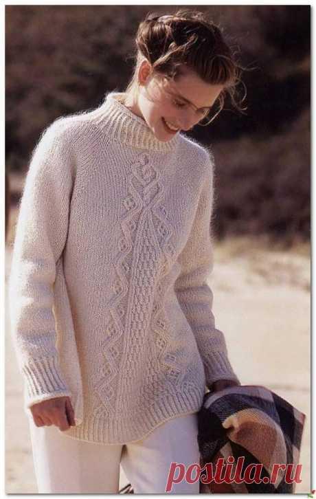 «Свободный» свитерок с узорами — HandMade