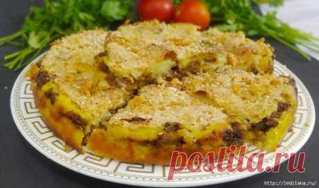 Картофельный пирог с мясом и грибами