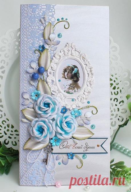 Нарядный конверт с изысканным дизайном, Украшен растительными элементами из перламутровой бумаги. На любой случай: свадьба, День рождения, юбилей,  выписка или к другому событию.