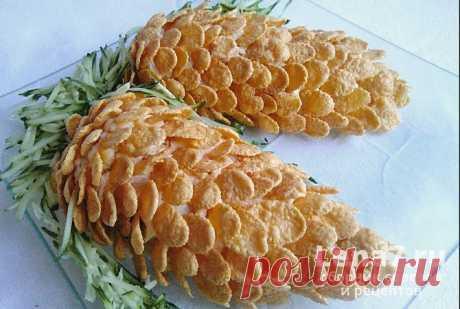 Салат Шишки с кукурузными хлопьями: пошаговые рецепты с фото и видео